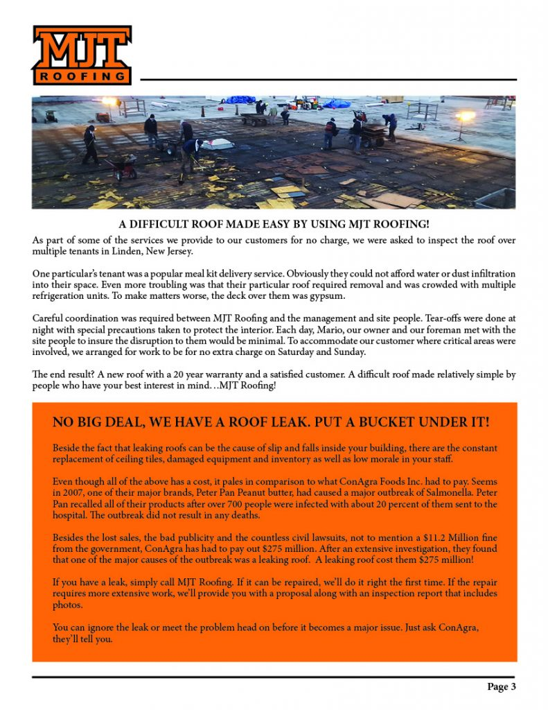 Mjt Roofing Newsletters New Jersey Commercial Roofing